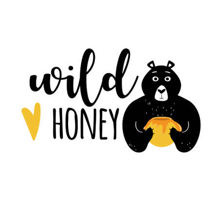 Label design with bear holding a honey jar illustration for package and product design