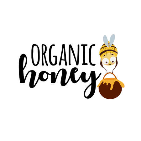 Organic honey label with bee holding a jar isolated on white background. Illustration
