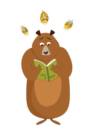 Card with cute cartoon bear reading a book and annoying bees concept. Vector illustration Stock Illustratie