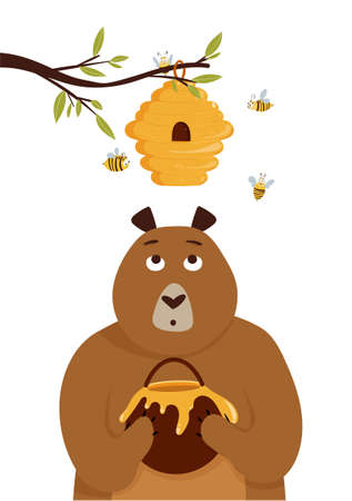 Card with cute cartoon bear holding jar with honey and bees in a hive. Vector illustration