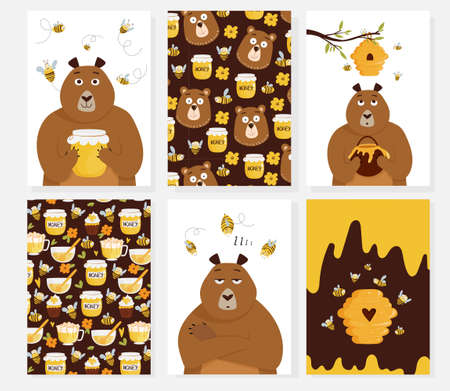 Set of cards with cute cartonn bear holding a honey jar, beehive, flying bees, patterns. Vector illustra