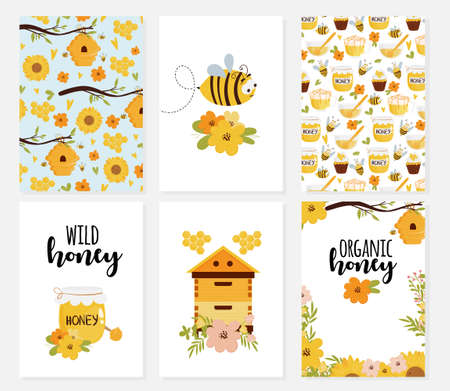 Set of cards and templates for organic food design with honey, beehive, patterns, bee, flowers. Illustration