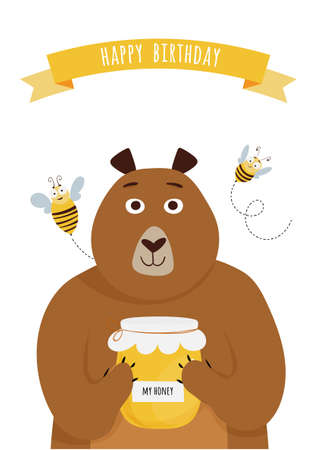 Happy birthday card with cute cartoon bear, jar with honey and bees.