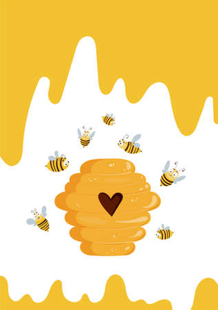 Cute card design with beehive and flying bees.
