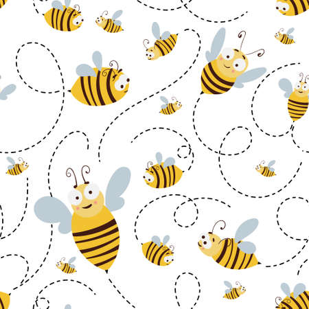 Seamless pattern with cute cartoon flying bees and dotted route. Illustration for print, product, fabric design