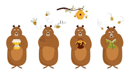 Set of bear character with different emotions, honey jar, beehive and flying bees. Concept vector illustration