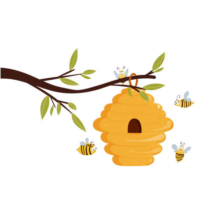 Beehive hanging on a branch with flying bees. Vector illustration concept for honey products design. Illustration