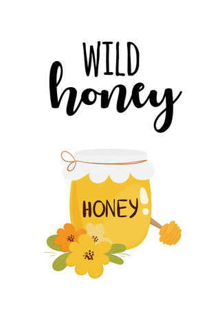 Cute card design with honey jar, flowers, honey spoon and text.