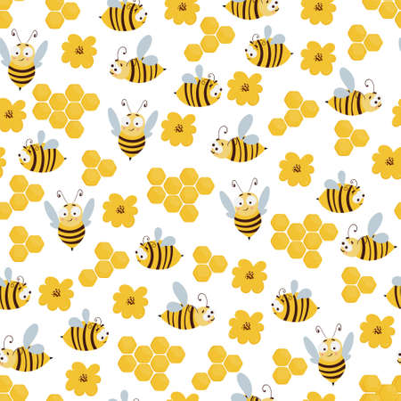 Seamless pattern with cute cartoon flying bees, honeycomb and flowers. Illustration for print, product, fabric design Illustration