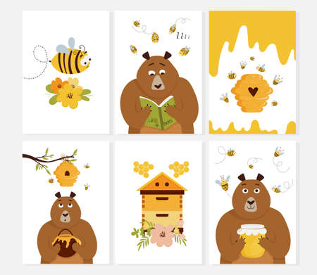 Set of cards with beehive, cute cartoon bear, bee, flowers, beehive. Vector illustration