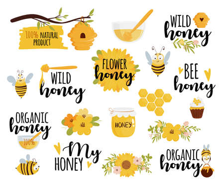 Honey and beekeeping set: honey jars, beehive, flowers, honeycomb, cute flying bees, decorative elements. Text labels for your product.