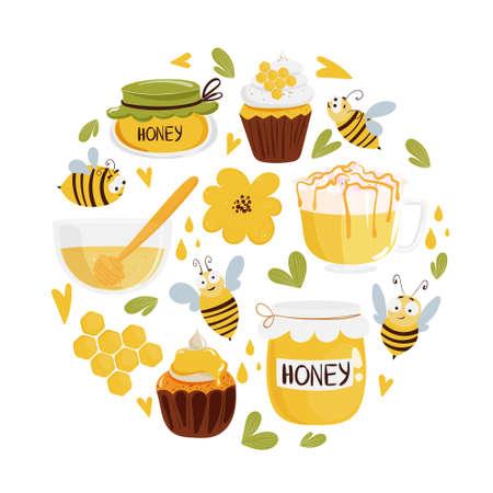 Honey and beekeeping circle concept. Cute cartoon organic food collection: cupcakes, beverage, honey jar. Vector illustration for tshirt print.