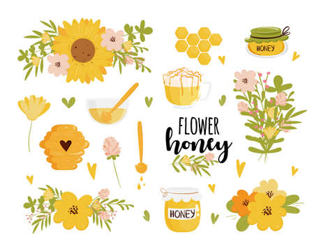 Honey and beekeeping vector set: honey jars, beehive, flowers, honeycomb. Cute cartoon organic food collection and text label. Vector illustration