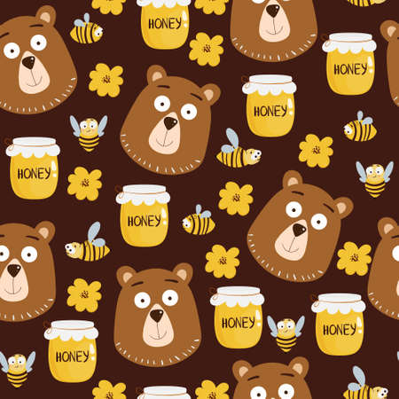 Seamless pattern with bear head, flying bees, honey jar, flower elements. Illustration for print, product, fabric design Illustration