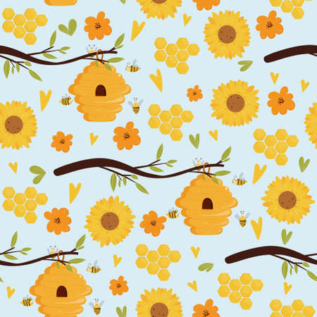 Seamless pattern with beehive on a branch, flower elements, sunflower, honeycomb. Illustration for print, product, fabric design Illustration