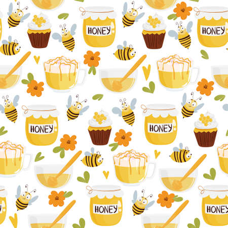 Seamless pattern with honey jar, drink, bee, cupcakes, flower elements. Illustration for print, product, fabric design