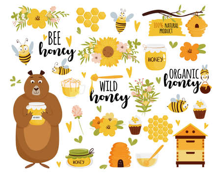 Honey and beekeeping vector set: honey jars, beehive, flowers, honeycomb, cute flying bees, decorative elements, bear holding jar, and lettering. Vector illustration