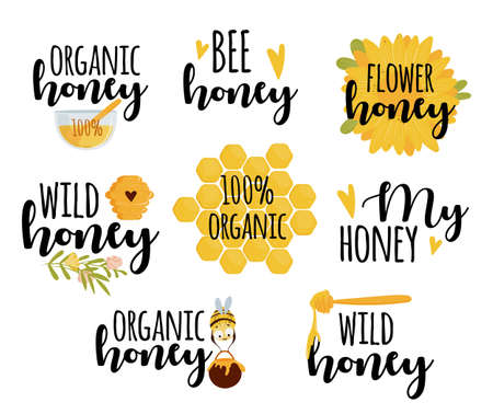 Set of honey labels with text isolated on white background illustration Illustration