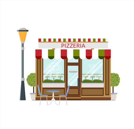 Pizza shop, storefront. Flat icon of pizzeria facade. Italian restaurant, vector illustration in flat style