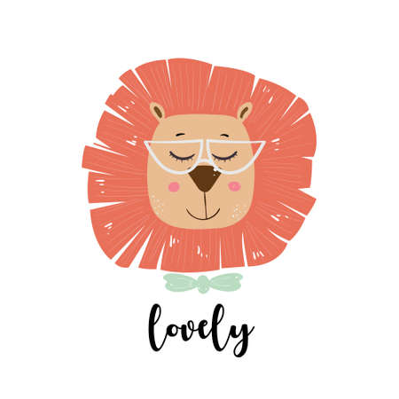 Cute cartoon lion glasses. Vector illustration for print or baby shower invitations. Çizim