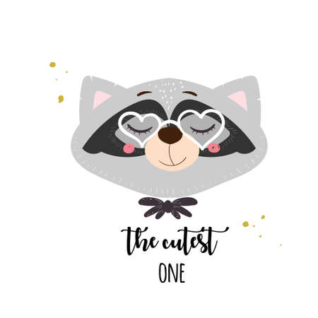 Cute card with raccoon with glasses. Vector illustration for print or baby shower invitations.