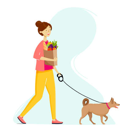 Girl walking on the street with a dog and paper bag after shopping in a grocery shop. Frehs fruits and vegetables. Ilustração