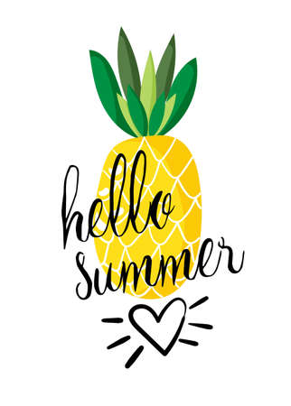 Vector summer holidays greeting card with text and pineapple. Ilustracja
