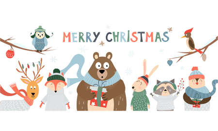 Christmas card and horizontal banner with cute cartoon animals and birds with winter accessories scarfs, hats, sweaters. Vector holiday illustration on white background with typography Illusztráció