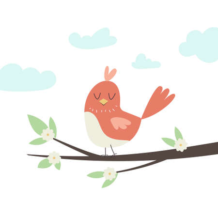 Vector illustration of a cute little bird sitting on a tree branch