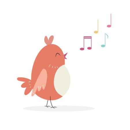 Cute carrtoon bird character singing a song. Vector illustration.