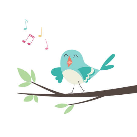 Vector illustration of a little cute bird sitting on a tree branch and singing Иллюстрация
