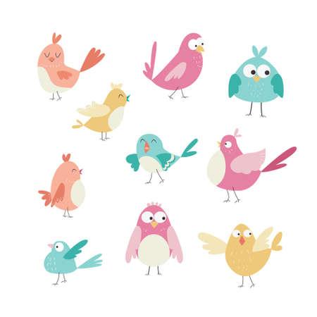 Set of cute cartoon birds. Vector illustration
