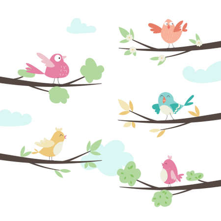 Cute cartoon birds on different branches. Vector illustration