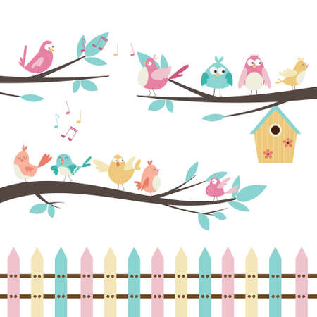 Vector set with cute singing birds sitting on tree branches, birdhouse, colorful fence.