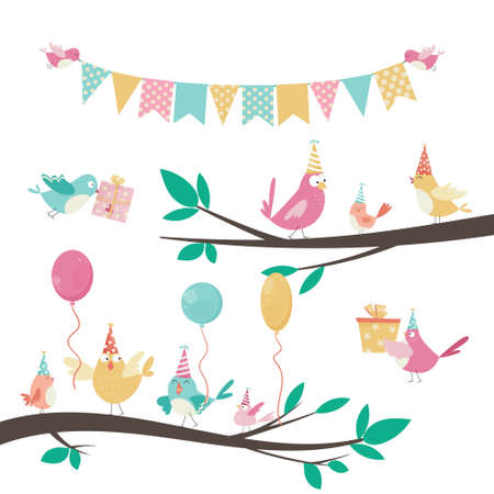 Birthday set with vector elements, birds on a tree, gifts, garland, balloons for greeting cards design Çizim