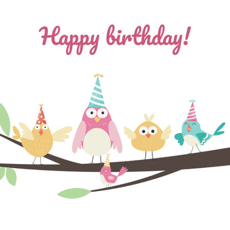 Happy Birthday greeting card with birds on a tree wearing party hats. Vector illustration Çizim