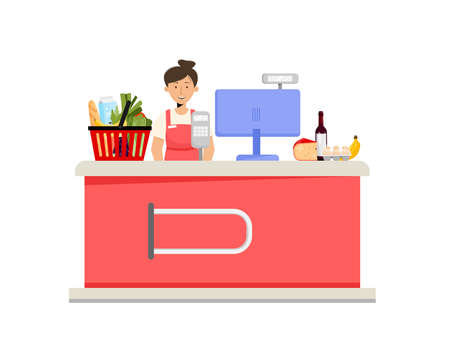 Supermarket cashier desk, woman character and grocery food. Vector illustration in flat style