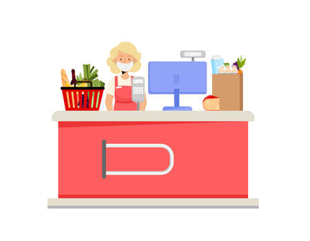 Supermarket cashier desk, woman character and grocery food. Vector illustration in flat style concept of virus prevention, wearing mask during covid-19