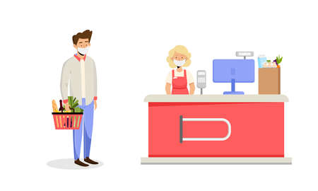 Female cashier desk in supermarket and male customer with basket and grocery food wearing mask. Vector illustration in flat style concept of virus prevention during covid-19