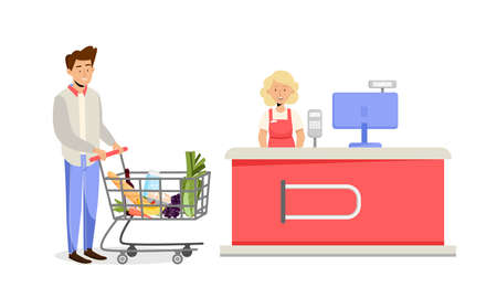 Female cashier desk in supermarket and male customer with basket trolley and grocery food. Vector illustration in flat style 向量圖像