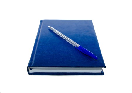 blue pen: Blue pen and notebook on the white isolated background Stock Photo