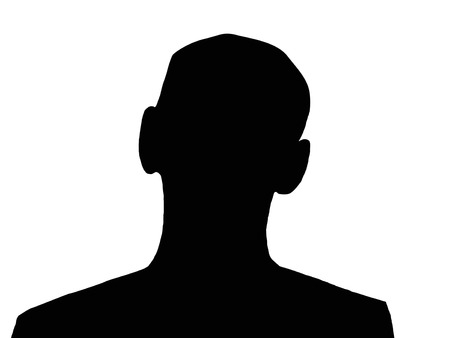 unnamed: Unknown black man silhouette on the white isolated background