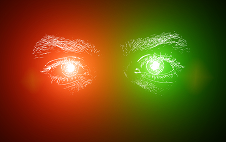 red abstract background: Man Eyes in Red And Green colors