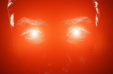 light eyes: Illustration of the man face with light eyes