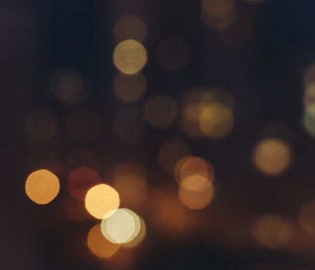 bokeh lights: Out of focus big city lights bokeh in night time