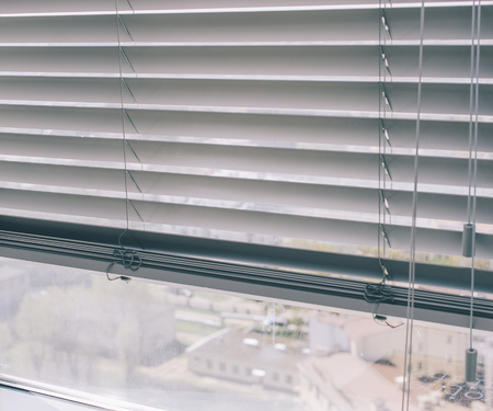 Window Blinds On The Office Window With View On City Stock Photo, Picture  And Royalty Free Image. Image 64788235.