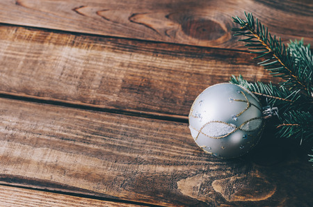 Christmas decoration on wood home rustic table