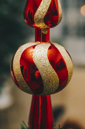 Interior room: Red and gold ball on green christmass tree