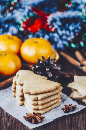 Ginger christmas cookies on the wooden rustic table