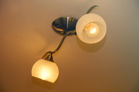 Lamps with lighting bulbs in the home Stock Photo